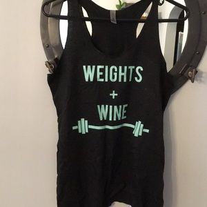 Weights + wine women's tank